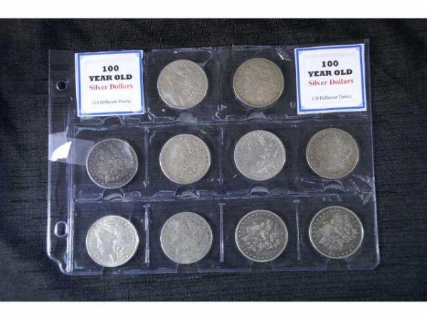 6B: 10 various Morgan Head silver dollars. 1880, 1883,