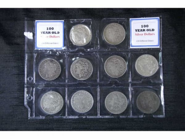 6C: 10 Morgan Head silver dollars. 1879, 1881, 1882,  1