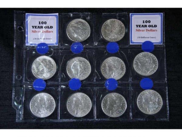 6D: 10 Morgan Silver Dollars. 1878, 1879, 1880, 1885,