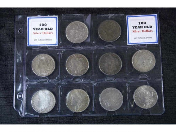 7: 10 various Morgan Head Silver Dollars.  1878,  1880,