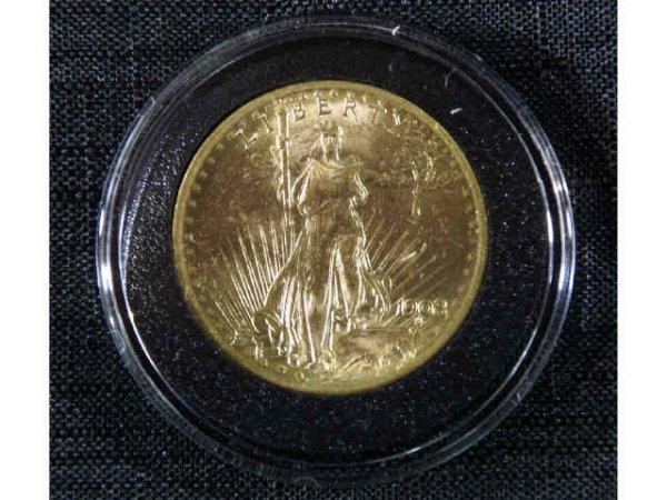 """13: 1908 $20 Liberty gold coin. """"No Motto""""."""
