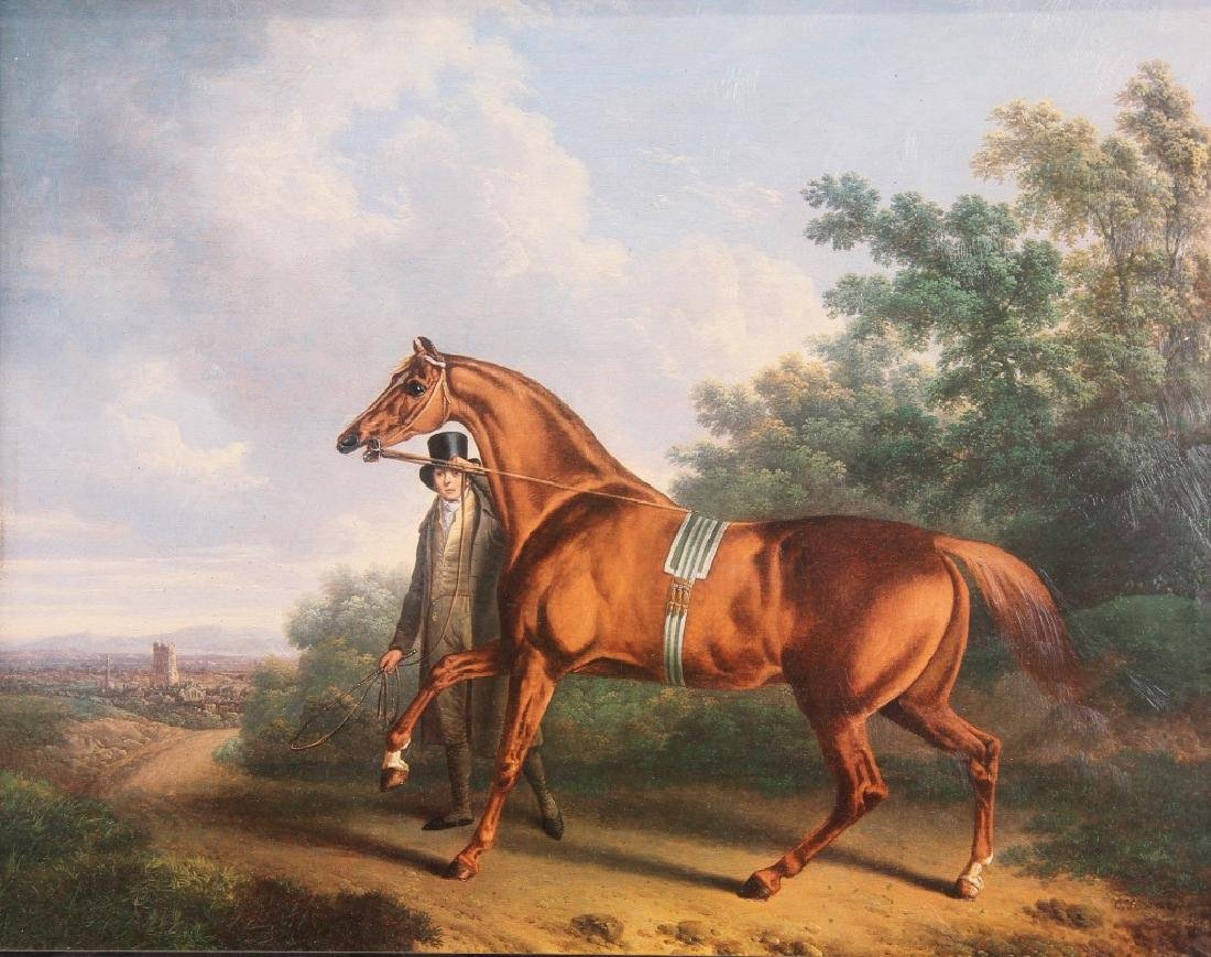 """TRAINING A CHESTNUT HUNTER ON THE ROAD"" GICLEE"