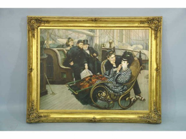 1005: Large oil on canvas of a lady in a deck chair