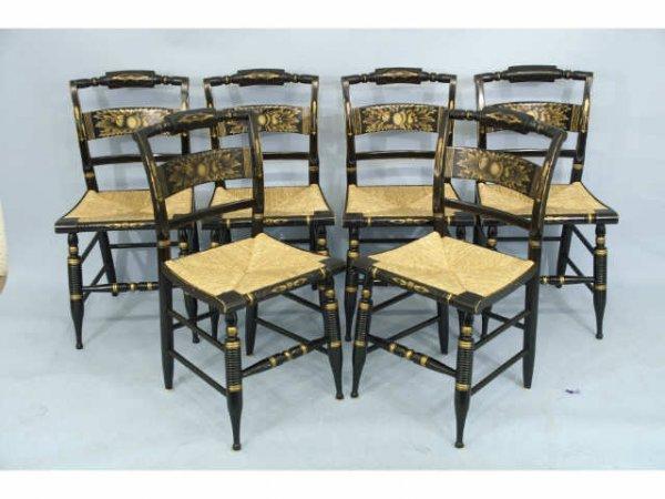1010: Set of 6 black Hitchcock chairs, circa 1960.