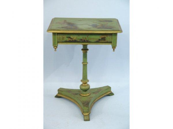 1015: Antique, chinoissori hand painted pedestal end ta