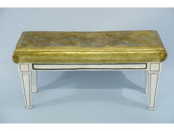 1016: Italian, porcelain bench with faux gilt tufted to