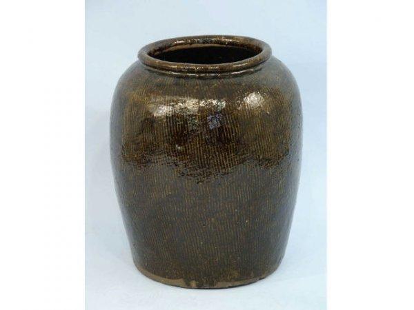 1019: Antique, large, olive jar with brown glaze