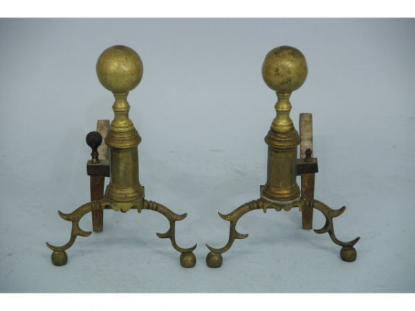 1020: Antique, pair of Fireplace Andirons