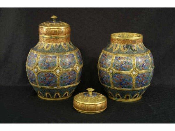 1032: Pair of 19th C. Tibetan Cloissonne lidded contain