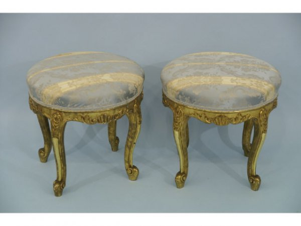 1040: Antique, pair of Louis XV style stools with gilt