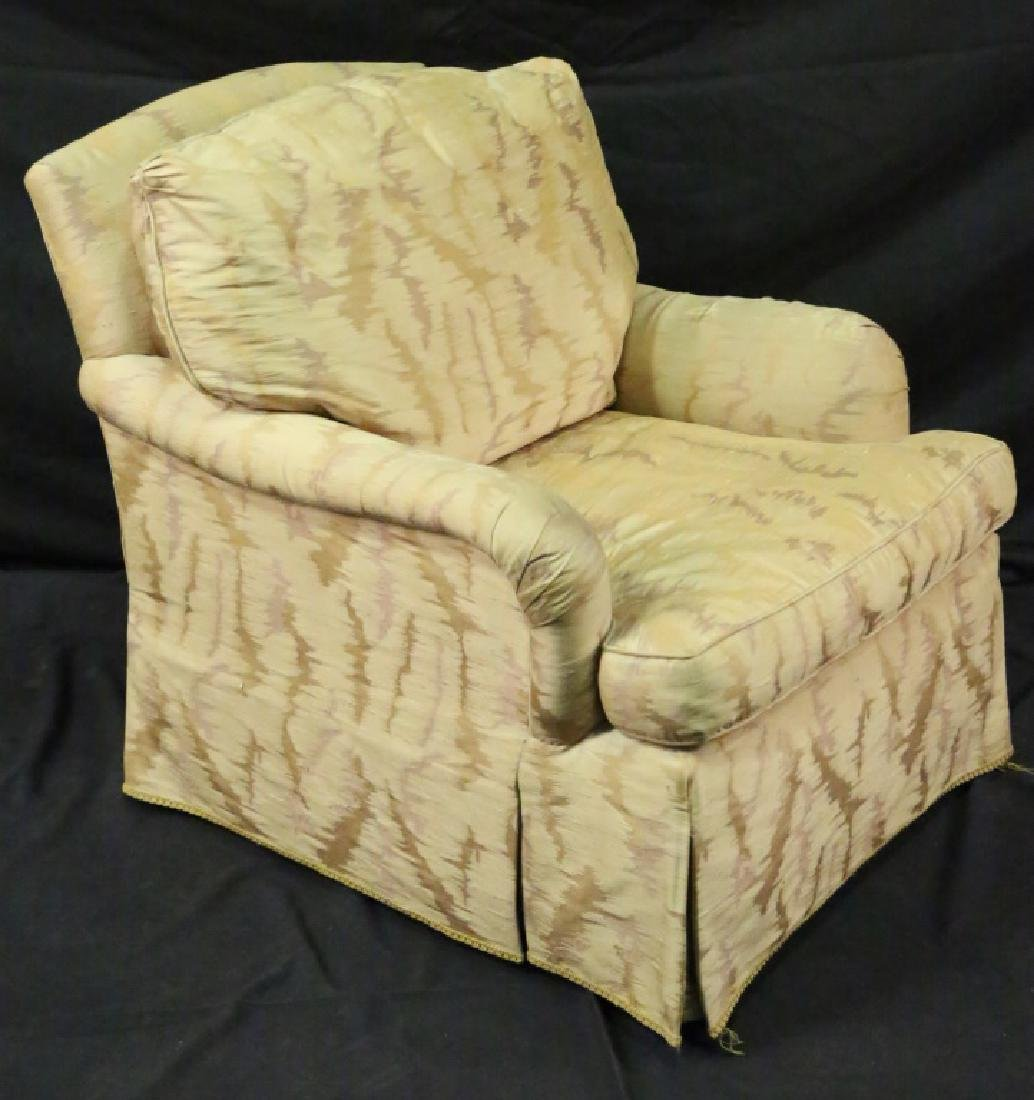 CLUB CHAIR AND OTTOMAN WITH FRENCH STYLE ARMCHAIR