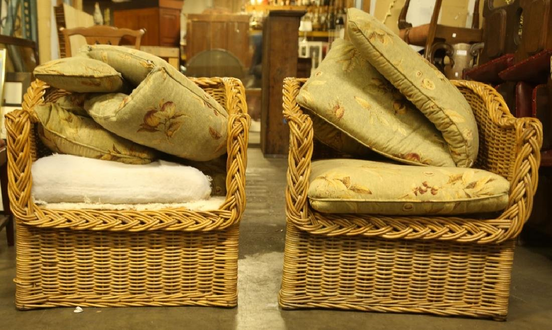PAIR OF RATTAN LOUNGE CHAIRS