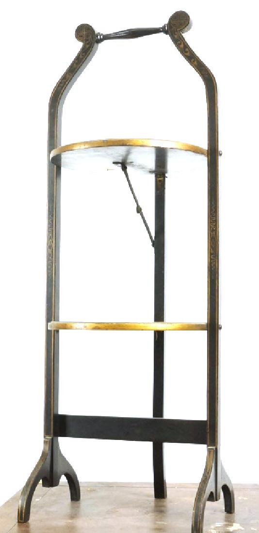ANTIQUE EBONIZED CHINOISERIE STYLE MUFFIN STAND