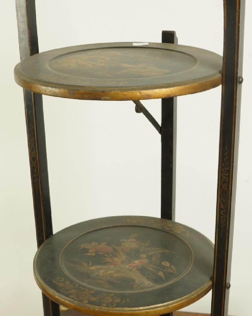 ANTIQUE EBONIZED CHINOISERIE STYLE MUFFIN STAND - 2