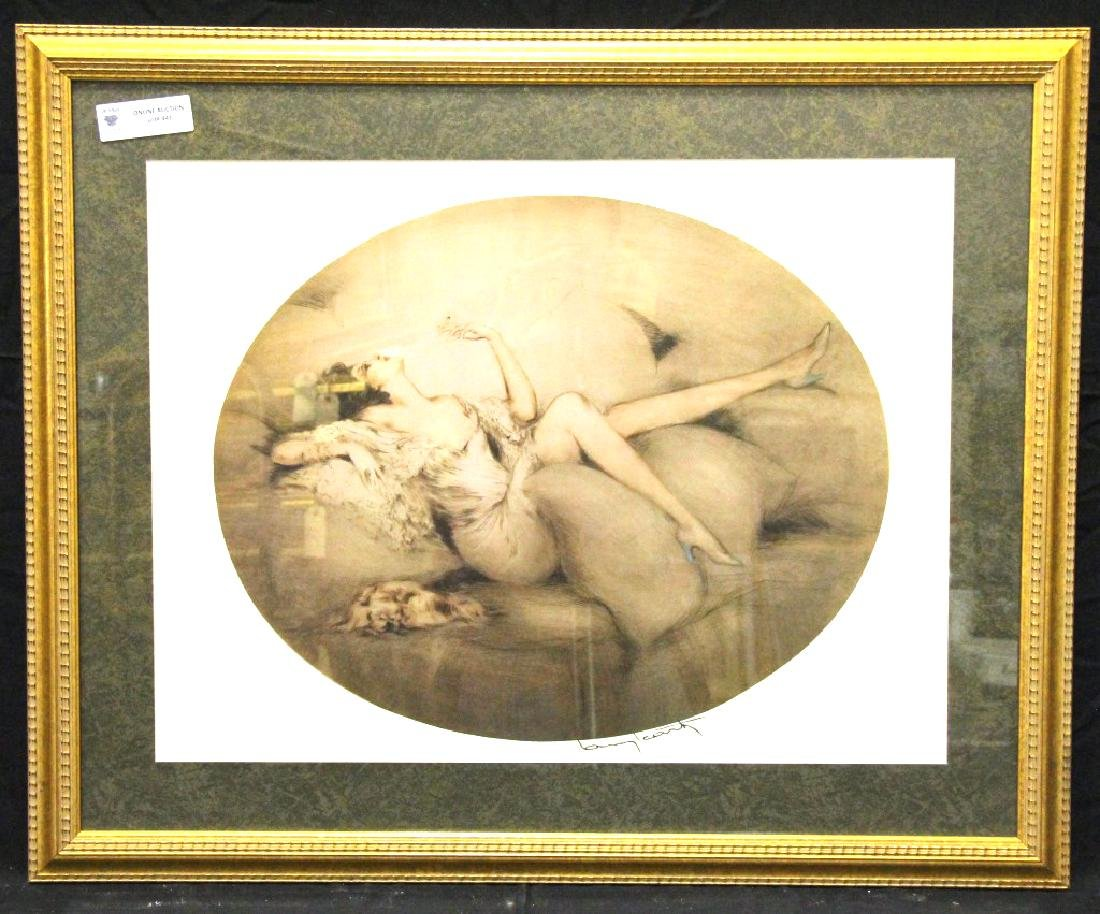 RECLINING FEMALE FRAMED AND MATTED ARTWORK