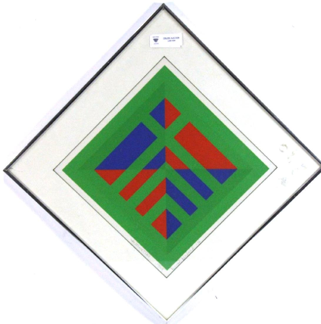 ABSTRACT FRAMED AND MATTED LITHOGRAPH
