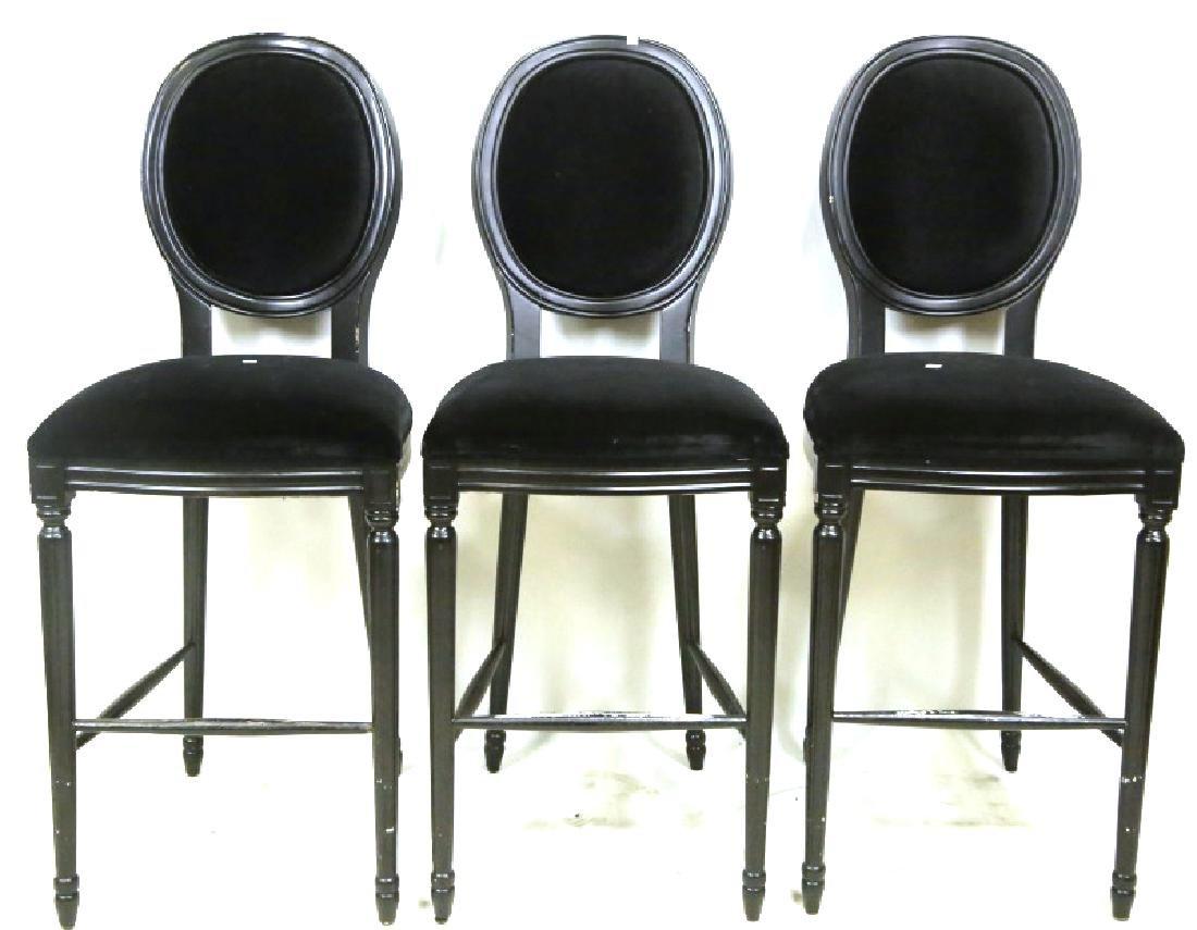 SET OF THREE BLACK BAR STOOLS