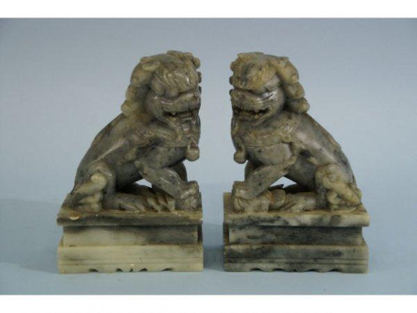 1: Gray soapstone, Fu dogs.