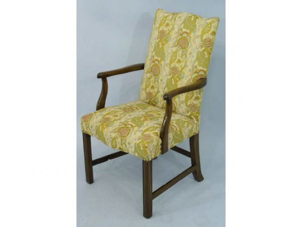 8: Armchair with floral pattern.