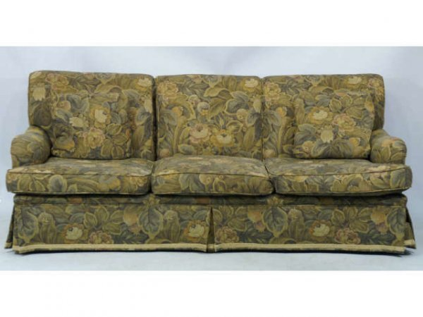 10: 3-seat sofa with floral upholstery & throw pillow