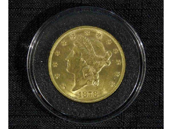 10A: 1878 $20 gold coin.