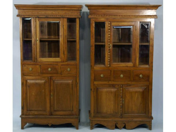 13: Pair of cabinets with glass display area