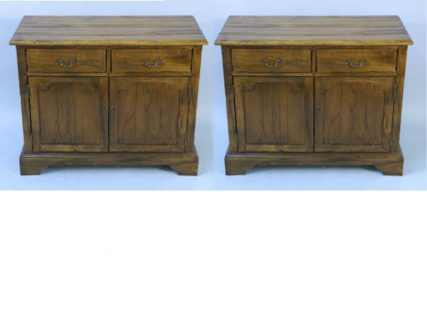 18: Pair of wood cabinets with two drawers.