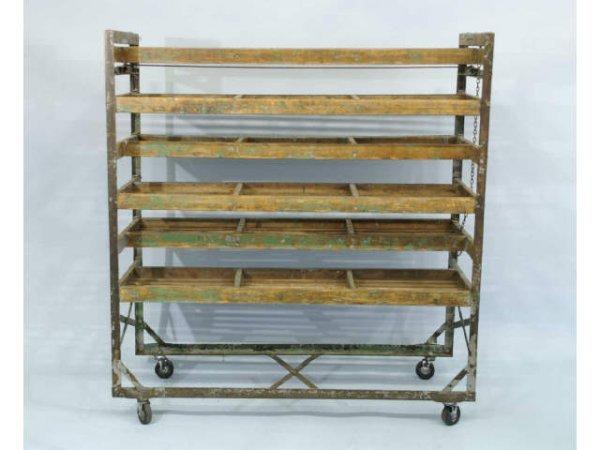 145: Vintage, metal and wood, drying rack.