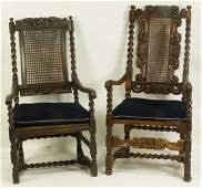 PAIR 19th CENTURY ENGLISH BARLEY TWIST ARMCHAIRS