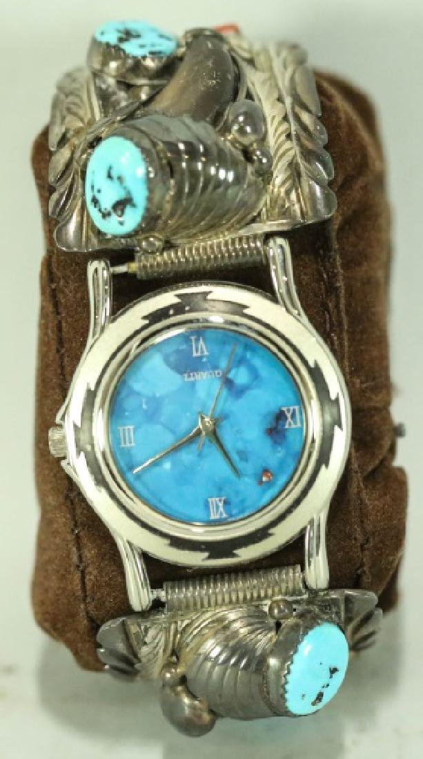 NAVAJO HAND MADE STERLING & TURQUOISE, CORAL WATCH