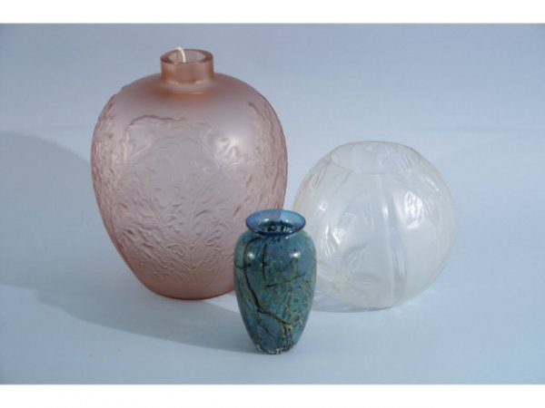 1007: Three piece group, art glass, includes two presse