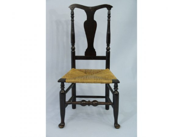 1008A: Small, high back chair with rush seat.