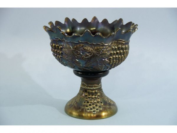 1009: Antique, two piece,  footed, carnival glass, frui