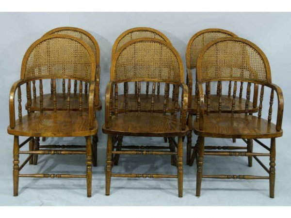 1010: Set of 6, antique bow back armchairs with cane