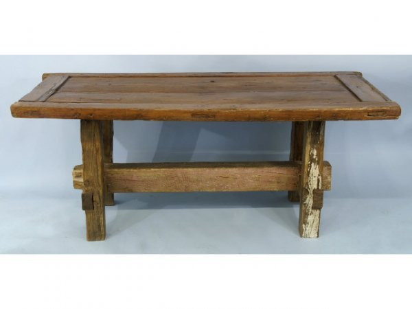 1016: Rustic dining table constructed out of an 18th ce