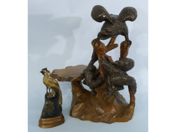 1019: Two hand-carved wood bird sculptures.