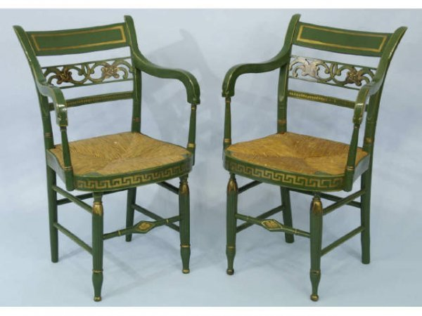 1023A: Pair of green Baltimore chairs with rush seats.
