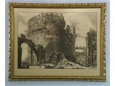 1208 Piranesi engraving of a castle in ruins