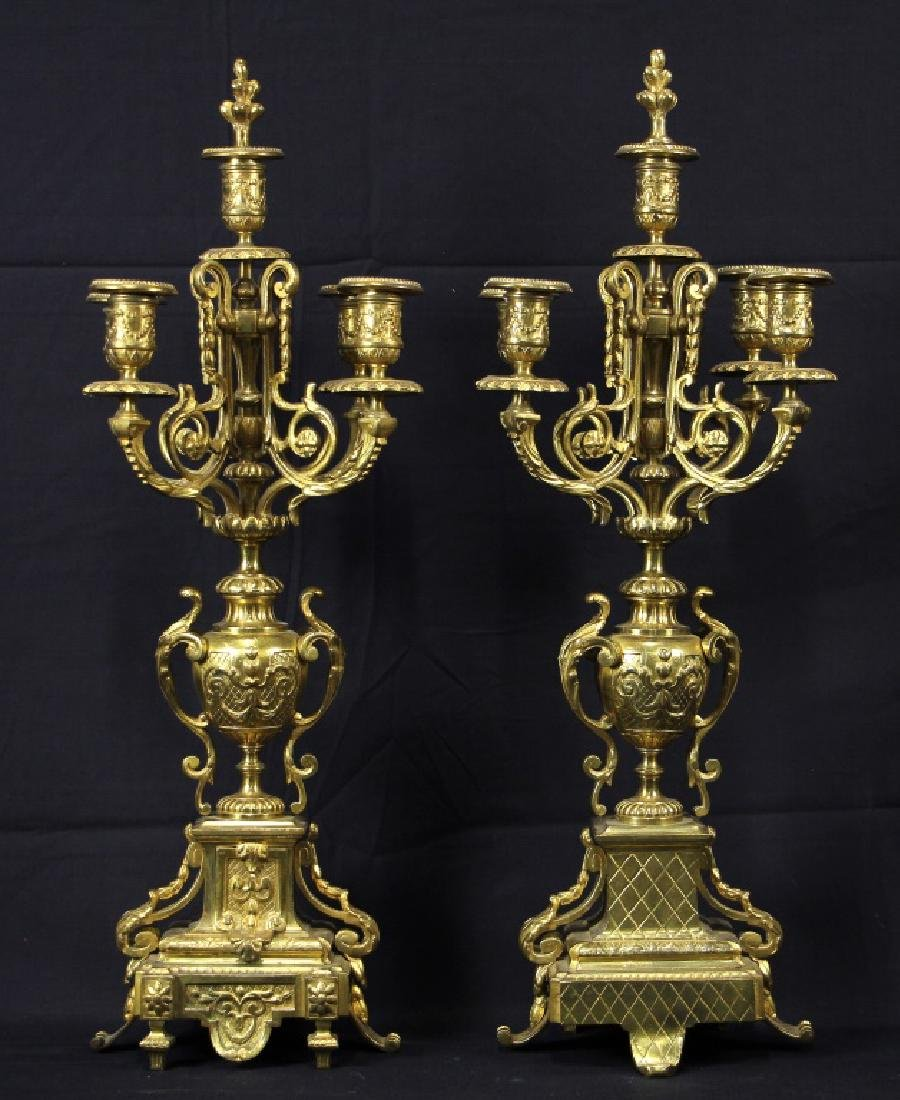 PAIR OF ANTIQUE GILDED FIVE CANDLE CANDELABRA