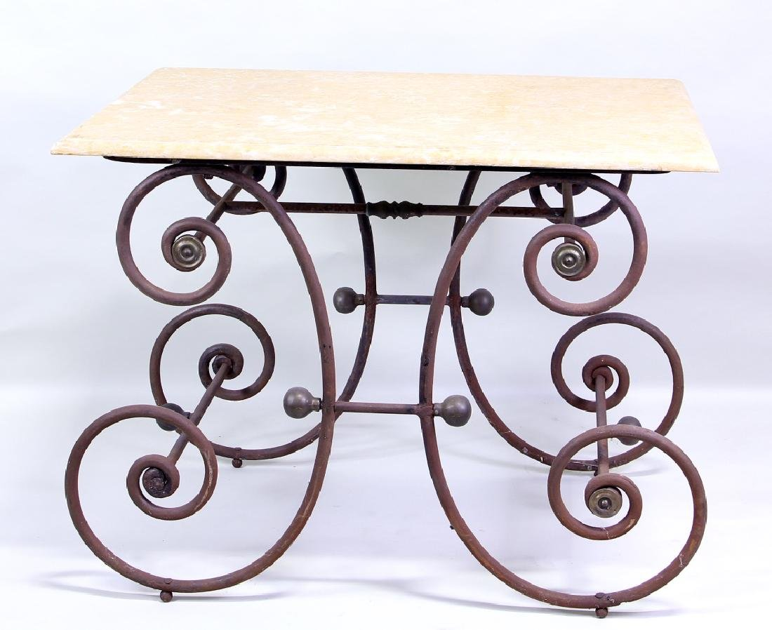 IRON BASE MARBLE TOP DESSERT TABLE