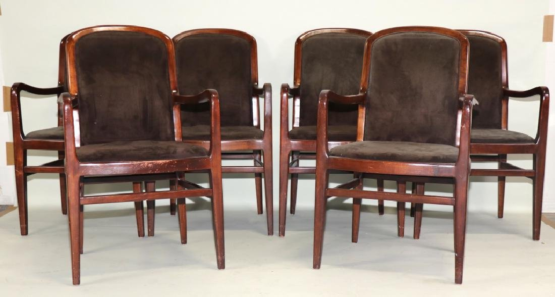 SET OF SIX MID-CENTURY MODERN ROSEWOOD ARMCHAIRS