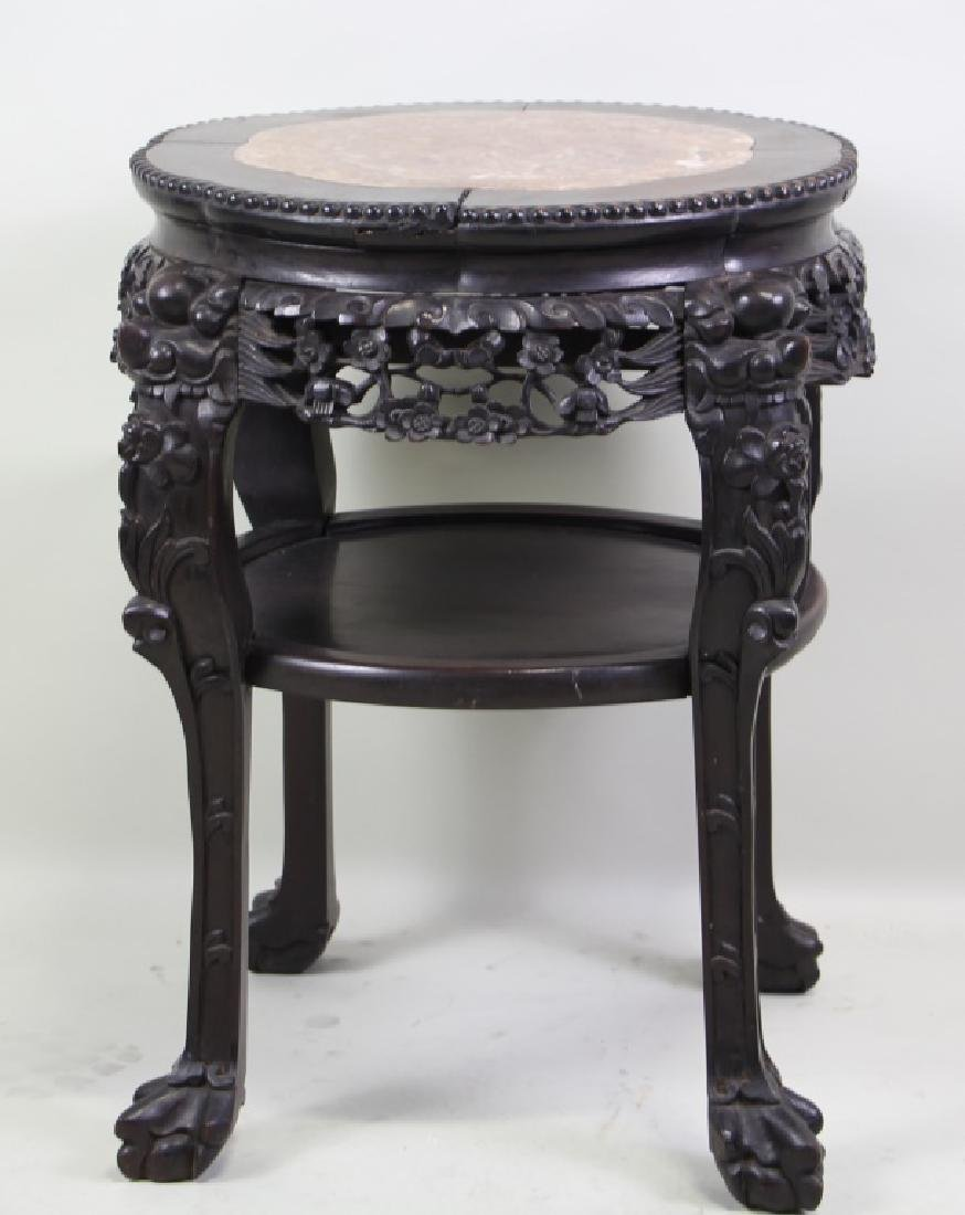ANTIQUE  CHINESE CARVED ROSEWOOD MARBLE TOP SIDE TABLE
