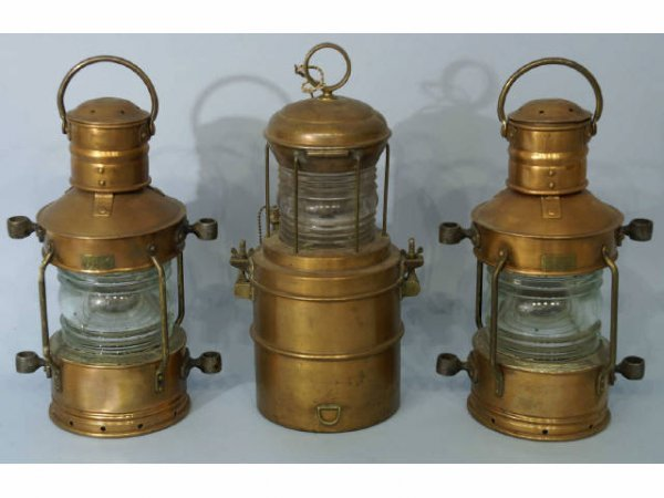 1: Three copper lanterns, including a pair and one si