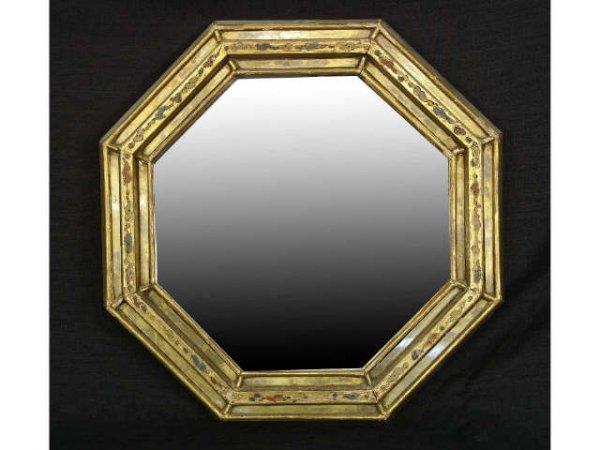 4: Antique Italian polychrome beveled mirror.