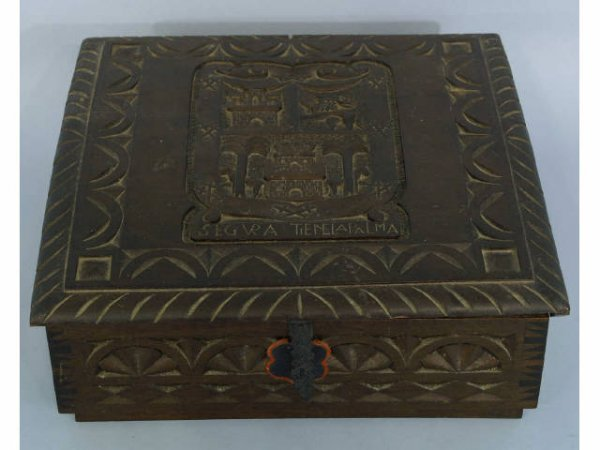 """6: Antique wooden box with elaborate carvings. """"Segur"""