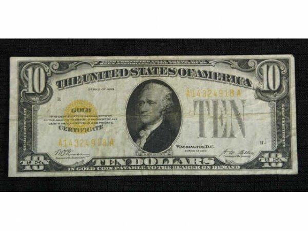 11A: 1928 $10 small Gold note. Condition: Fine.