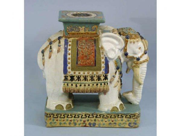 12: Large majolica elephant.