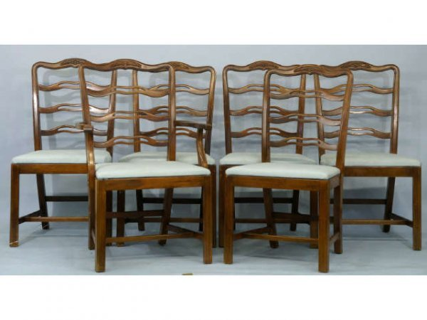 18: Six, Drexel pierced ladder back dining chairs