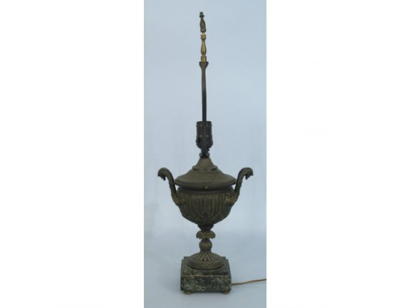 19: 19th cent. bronze neo-classic syle urn converted t