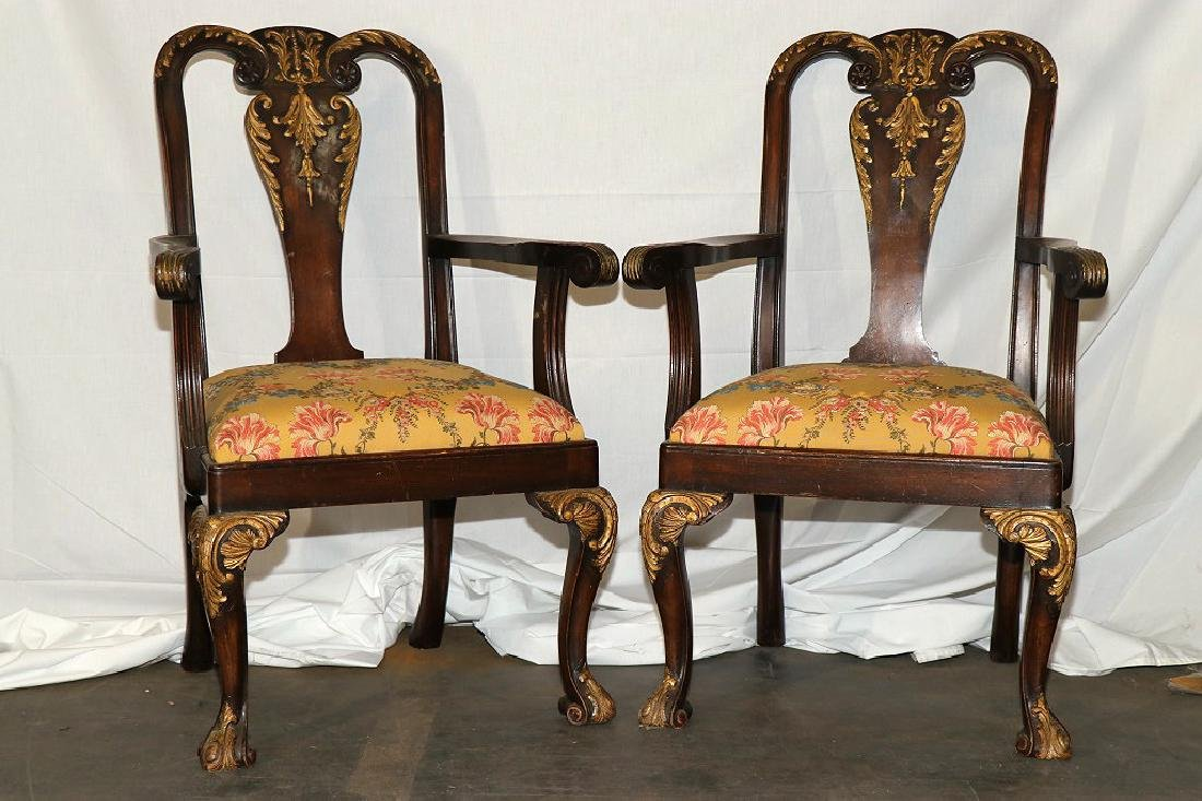 PAIR OF QUEEN ANNE STYLE ARMCHAIRS.